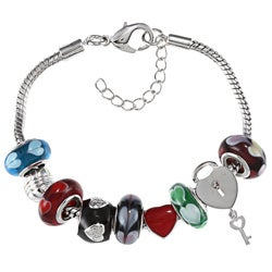 La Preciosa Silvertone Multi-colored Glass Heart Bead Charm Bracelet