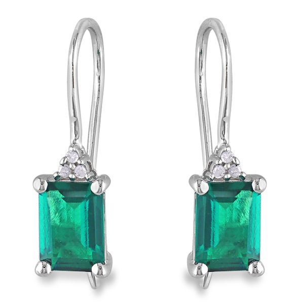 Miadora Sterling Silver 1-3/4ct TGW Created Emerald & Diamond Accent Earrings (H-I, I3)