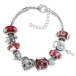 La Preciosa Silvertone Pink and Red Glass Floral Heart Charm Bracelet