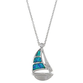 La Preciosa Sterling Silver Created Blue Opal and CZ Sailboat Necklace
