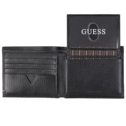 Guess Men's Textured Genuine Leather Bifold Passcase Wallet