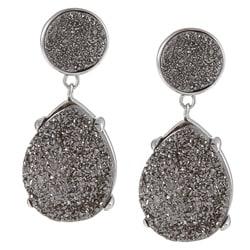 La Preciosa Sterling Silver Pear and Round Grey Druzy Earrings