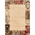 Patchwork Damask Border Beige (3' 11 x 5' 3)