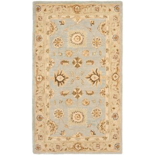 Hand-made Farahan Blue/ Sage Hand-spun Wool Rug (3' x 5')