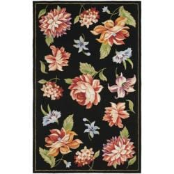 Hand-hooked Botanical Black Wool Rug (5'3 x 8'3)