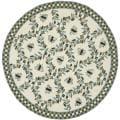 Safavieh Hand-hooked Bees Ivory/ Blue Wool Rug (4' Round)