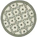 Hand-hooked Bees Ivory/ Blue Wool Rug (5'6 Round)