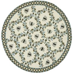 Safavieh Hand-hooked Bees Ivory/ Blue Wool Rug (8' Round)