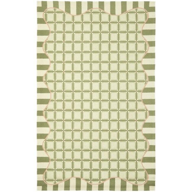 Safavieh Hand-hooked Chelsea Ivory/ Green Wool Rug (5'3 x 8'3)