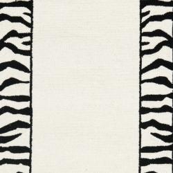 Hand-hooked Zebra Border White/ Black Wool Rug (2'6 x 6')