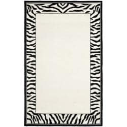 Hand-hooked Zebra Border White/ Black Wool Rug (3'9 x 5'9)