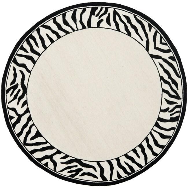 Safavieh Hand-hooked Zebra Border White/ Black Wool Rug (5