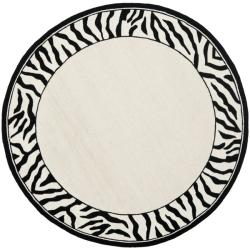 Hand-hooked Zebra Border White/ Black Wool Rug (5'6 Round)