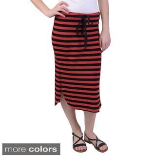 Journee Collection Junior's Drawstring Waist Long Striped Skirt