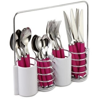 LeBrun French 'Ellipse' Fuchsia Soft Handle 24-piece Cutlery Set