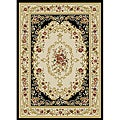Royal Medallion Black/ Beige Floral Rug (7'10 x 9'10)