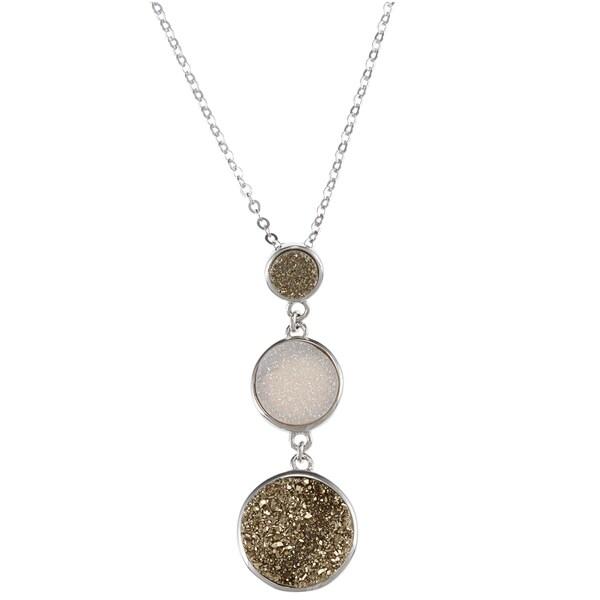 La Preciosa Sterling Silver Golden and Clear Druzy Necklace
