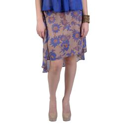 Journee Collection Juniors Floral Flowy Chiffon Long Tail Hem Skirt