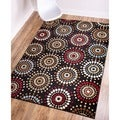 Rodeo Drive Circles Black Area Rug (6' 7 x 9' 6)