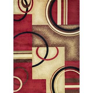 Generations Circles Geometric Red Ivory Plush Modern Area Rug 3' 11