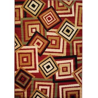 Catalina Red Geometric Print Rug (6'7'' x 9'3'')