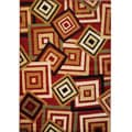 Catalina Red Geometric Print Rug (6'7'' x 9'3'')