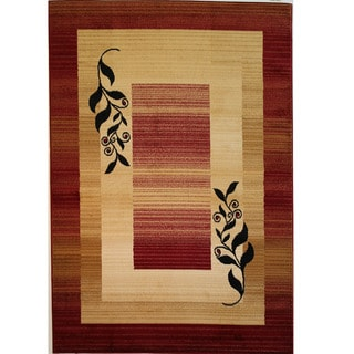 Red/ Beige Leaf Border Print Rug (6'7'' x 9'3'')