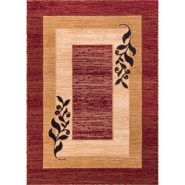 Red Leaf Border Print Rug (3'3'' x 5'3'')