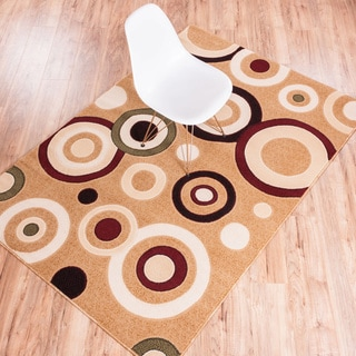 Circles Dark Beige Area Rug (7' 10 x 9' 10)