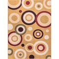 Circles Dark Beige Area Rug (6' 7 x 9' 3)