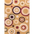Circles Dark Beige Area Rug (5' x 7' 2)