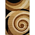Scrolls Waves Gold Area Rug (5' x 7'2)