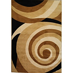 Scrolls Waves Gold Area Rug (3'3 x 5'3)