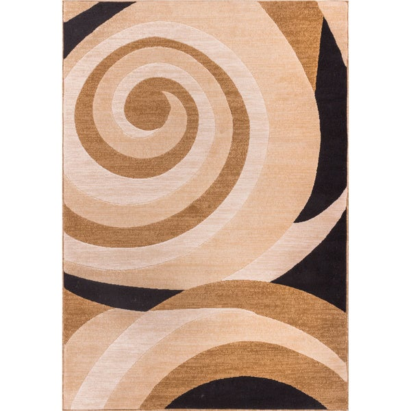 Scrolls Waves Gold Area Rug (3'3 x 5'3)