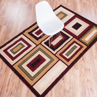 Manhattan Blocks Multi Red, Green, Beige, and Ivory Geometric Area Rug (7'10 x 9'10)