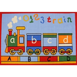 Kids Rugs Non-Skid Train Kids Multi 4'6 x 6'1