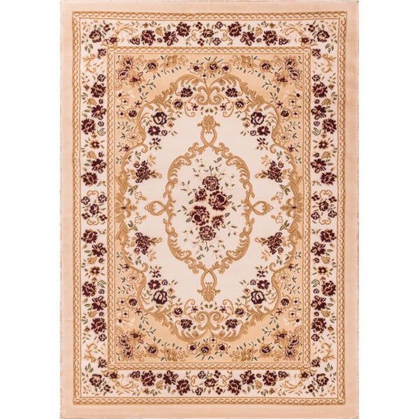 Royal Medallion European French Floral Ivory, Beige, Red, and Green Area Rug (5' x 7'2)