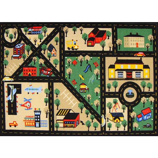 Kid's Rugs Non-Skid Town Roads Black 4'6 x 6'1