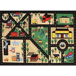 Kid's Rugs Non-Skid Town Roads Black 4'6 x 6'1