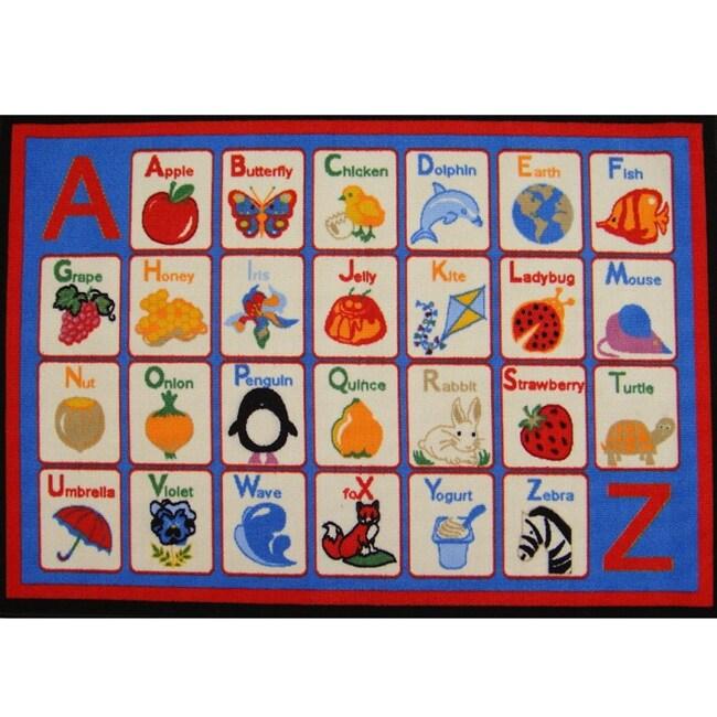 Kid's Rugs Non-Skid Alphabet Multi 4'6 x 6'1