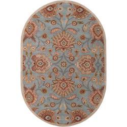 Hand-tufted Blue Kiser Wool Rug (6' x 9' Oval)