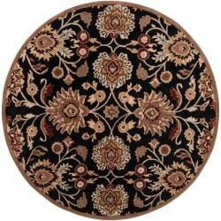 Hand-tufted Maroon Kiser Wool Rug (4' Round)