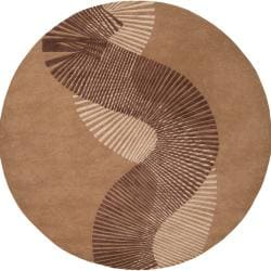 Hand-tufted Contemporary Brown Striped Artist New Zealand Wool Abstract Rug (8' Round)