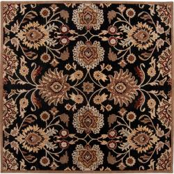 Hand-tufted Maroon Kiser Wool Rug (4' Square)