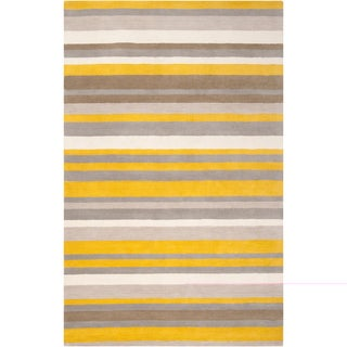 angelo:HOME Loomed Yellow Madison Square Wool Rug (2' x 3')