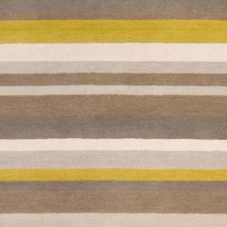 angelo:HOME Loomed Olive/Oatmeal/Mustard Striped Madison Square Wool Rug (5' x 7'6)