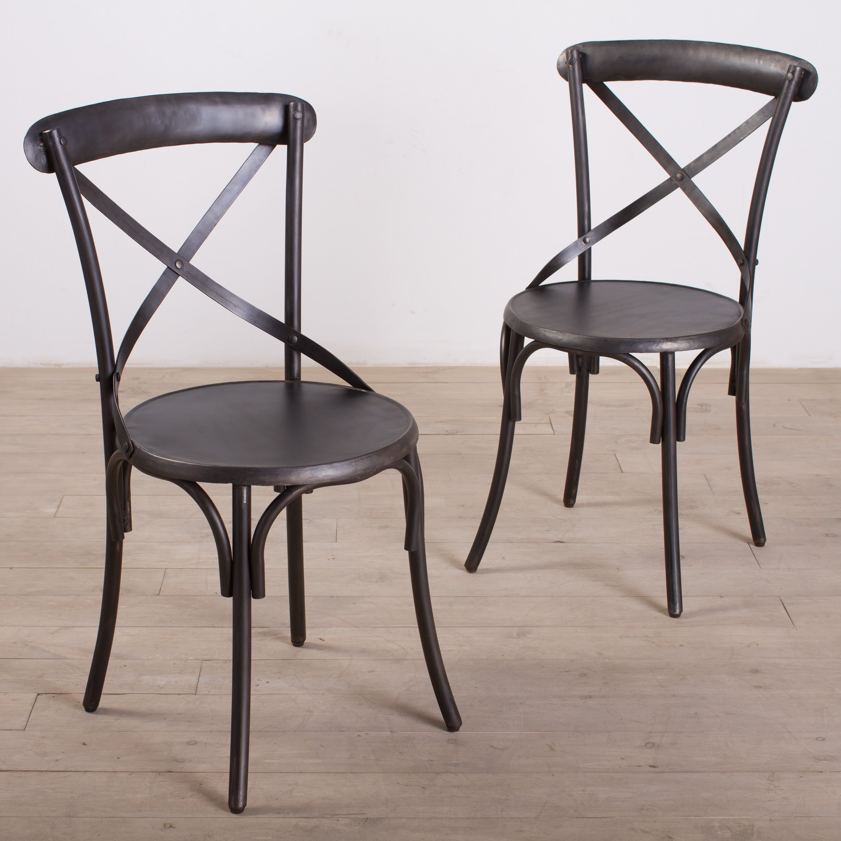 Metal Bistro Chairs Zinc Finish (Set of 2) - Overstock Shopping ...