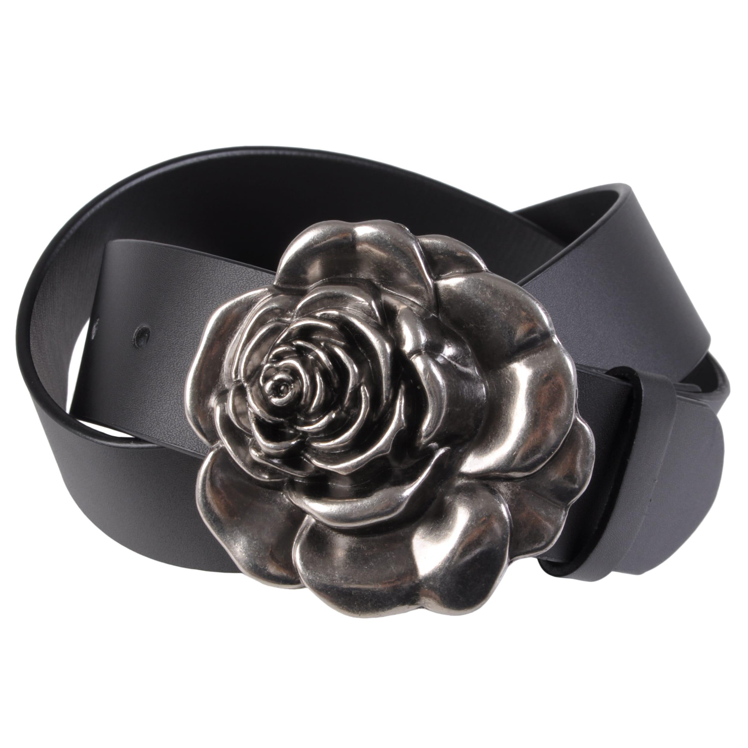 Journee Collection Women's Flower Buckle Leather Belt