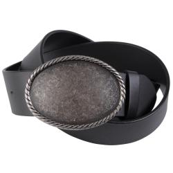 Journee Collection Women's Oval Pewter Buckle Leather Belt