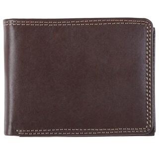 Stylish Boston Traveler Men's Topstitched Bi-fold Genuine Leather Wallet